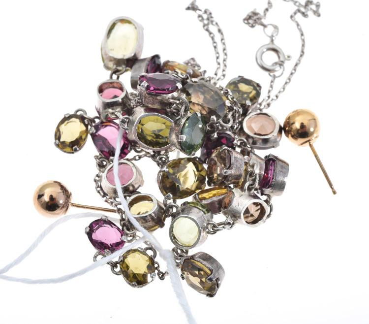 A SEMI PRECIOUS STONE SET LAVELLIER INCLUDING GARNET, SAPPHIRE AND QUARTZ SET IN SILVER.