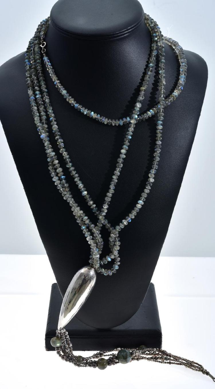 A LABRADORITE POLISHED BEAD AND SILVER NECKLACE AND ONE OTHER