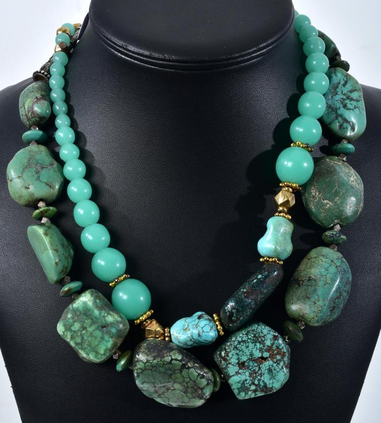 A TUMBLED TURQUOISE BEAD NECKLACE AND A TURQUOISE AND CHRYSOPRASE NECKLACE