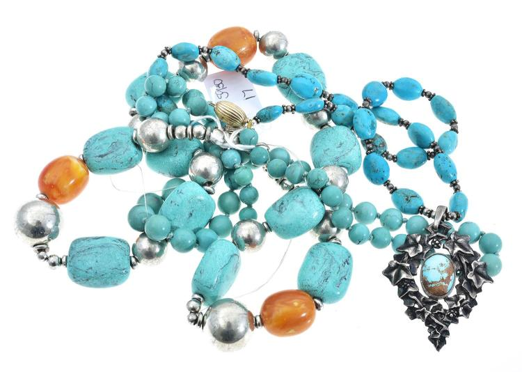 THREE ASSORTED TURQUOISE NECKLACES, INCLUDING SILVER AND AMBER AND EXTRA BEADS.