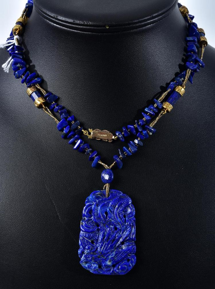 VINTAGE LAPIS LAZULI NECKLACE WITH CARVED PENDANT DROP