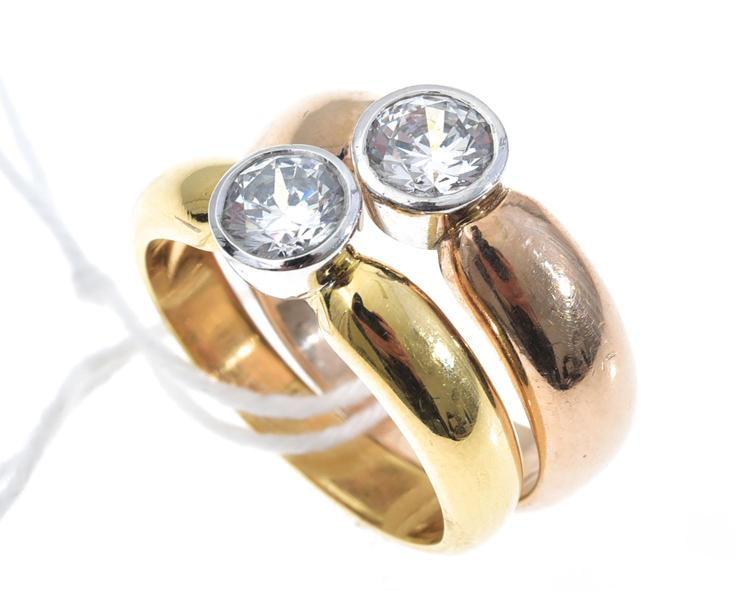 TWO 18CT GOLD CUBIC ZIRCONIA SOLITAIRE RINGS