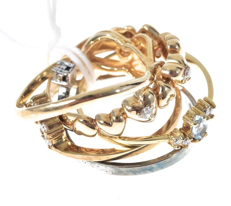 ONE 14CT GOLD RING AND FOUR 9CT GOLD RINGS SOME STONE SET WITH DIAMOND