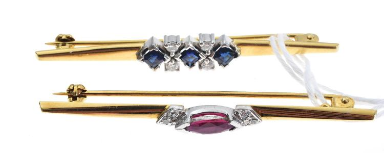 TWO 18CT GOLD BAR BROOCHES SET WITH DIAMONDS, SAPPHIRE AND RUBY