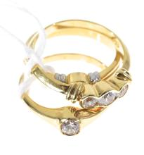 THREE 18CT GOLD CUBIC ZIRCONIA SET RINGS