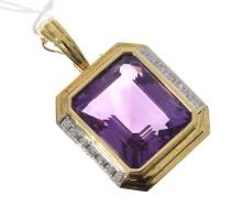 A LARGE AMETHYST AND DIAMOND PENDANT ENHANCER SET IN 18CT GOLD