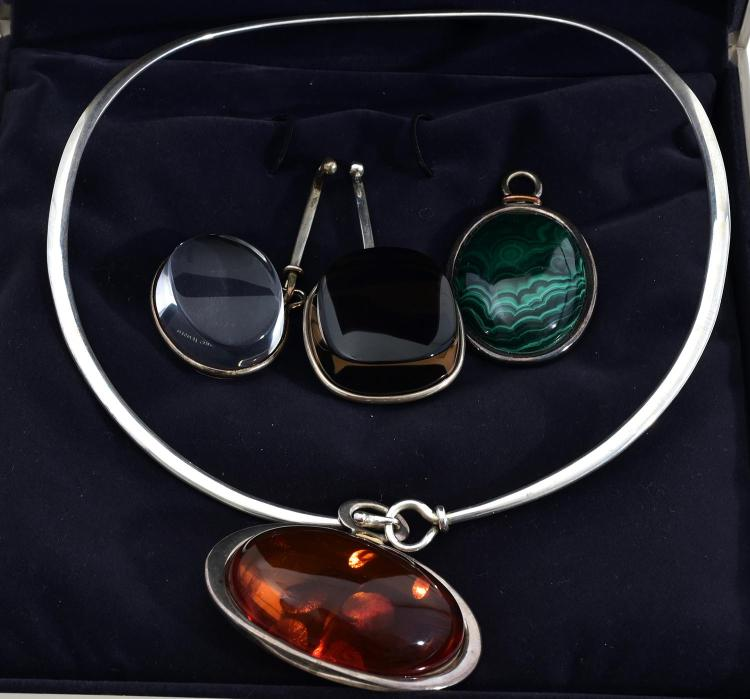 A GEORG JENSEN STERLING SILVER PENDANT COLLAR WITH INTERCHANGEABLE PENDANTS IN ORIGINAL BOX, ALONG WITH TWO OTHER