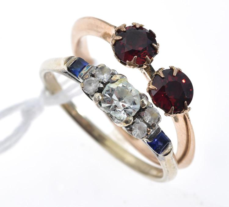 TWO VINTAGE STONE SET RINGS IN 9CT GOLD