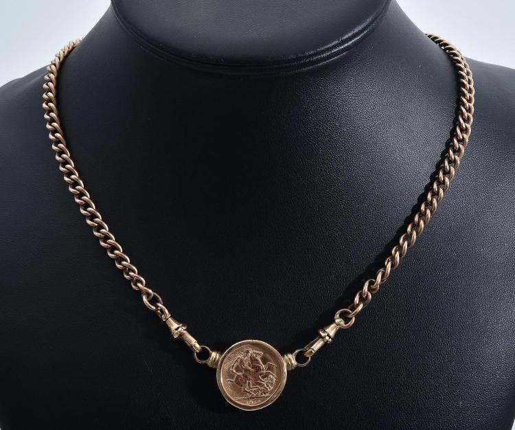 A 9CT FOB CHAIN WITH COIN PENDANT