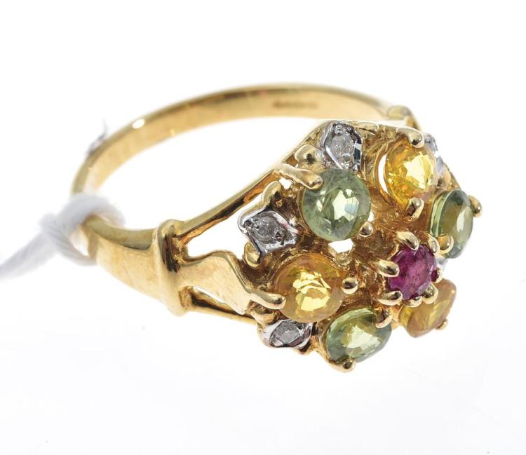 A RUBY, SAPPHIRE AND DIAMOND MOUNTED IN 9CT GOLD
