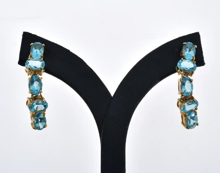 A PAIR OF APATITE SET 9CT GOLD EARRINGS