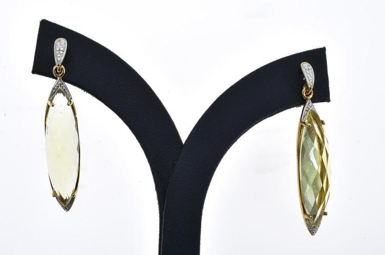A PAIR OF CITRINE AND DIAMOND EARRINGS IN 9CT GOLD