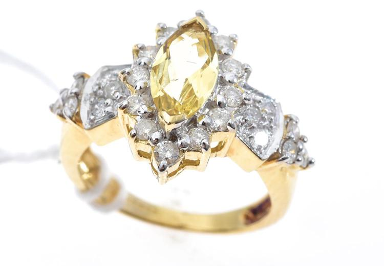 A GOLDEN BERYL AND DIAMOND RING IN 18CT GOLD