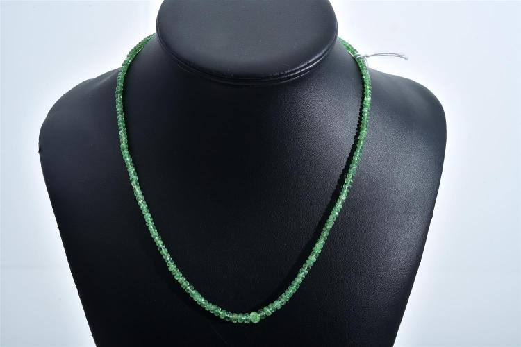 A FACETED TSAVORITE BEAD NECKLACE WITH STERLING SILVER CLASP