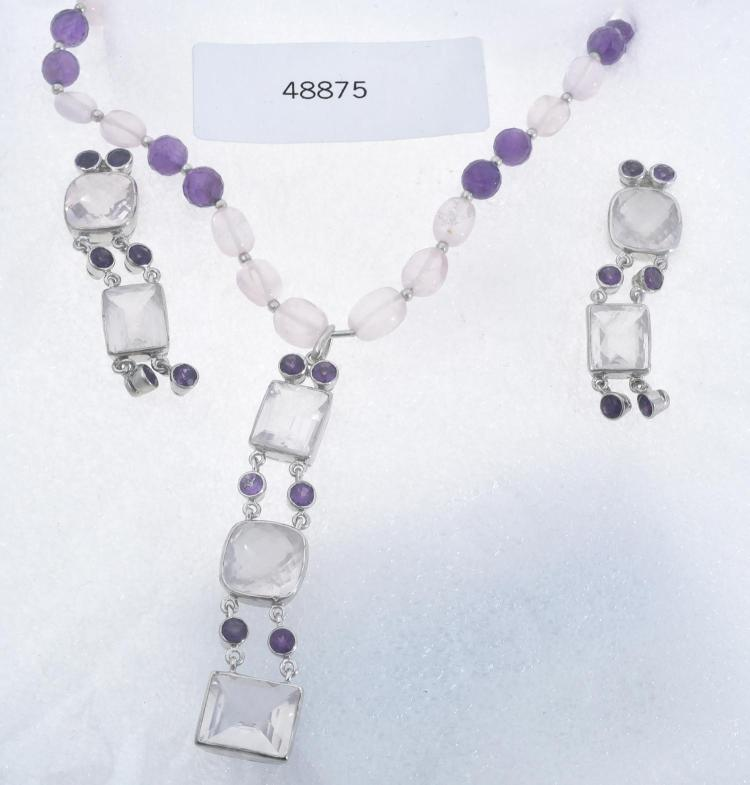 A MULTI GEM SET NECKLACE WITH MATCHING EARRINGS IN STERLING SILVER