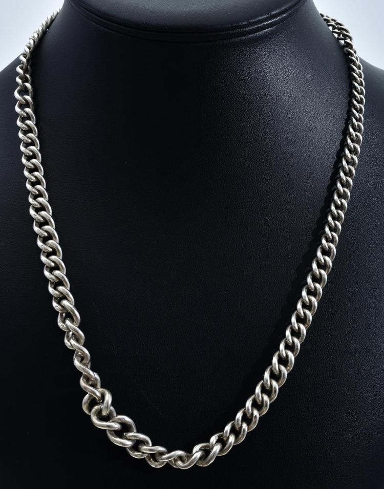 A LARGE GRADUATED STERLING SILVER CURB LINK FOB CHAIN
