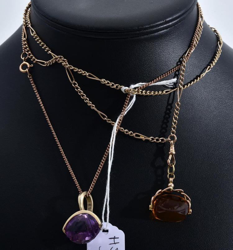 TWO 9CT GOLD CHAINS ONE FEATURING AN AMETHYST PENDANT THE OTHER FEATURING A STONE SET SWIVEL PENDANT