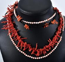 THREE ASSORTED CORAL NECKLACES AND A BRACELET