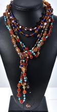 SIX ASSORTED NECKLACES INCLUDING VENETIAN GLASS, TURQUOISE, AMBER, GOLD STONE, LAPIS LAZULI, CARNELIAN ETC