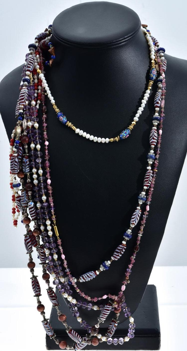 FIVE ASSORTED SEMI PRECIOUS STONE SET NECKLACES INCLUDING PEARL, GOLD STONE, LAPIS LAZULI,