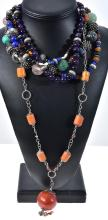 FIVE ASSORTED SEMI PRECIOUS NECKLACES INCLUDING AMETHYST, SILVERM GARNET, ROCK CRYSTAL, ROSE QUARTZ, CARNELIAN, CORAL ETC