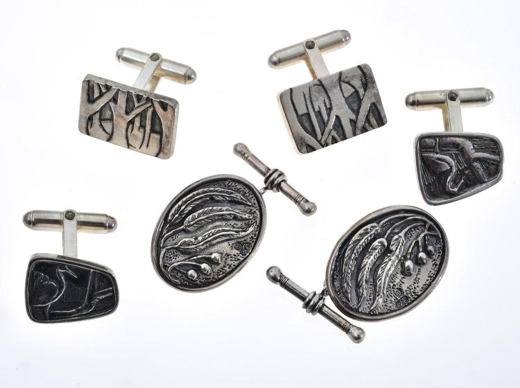 THREE PAIRS OF HANDCRAFTED TONY KEAN STERLING SILVER CUFFLINKS, SIGNED.