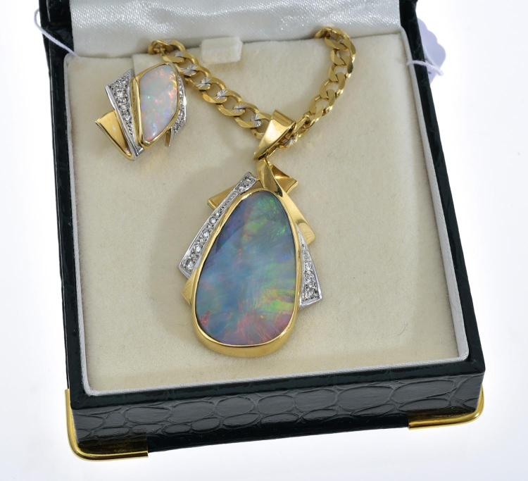 A SOLID WHITE OPAL AND DIAMOND NECKLACE IN 18CT GOLD WITH CHAIN, AND A MATCHING SOLID WHITE OPAL AND DIAMOND PIN