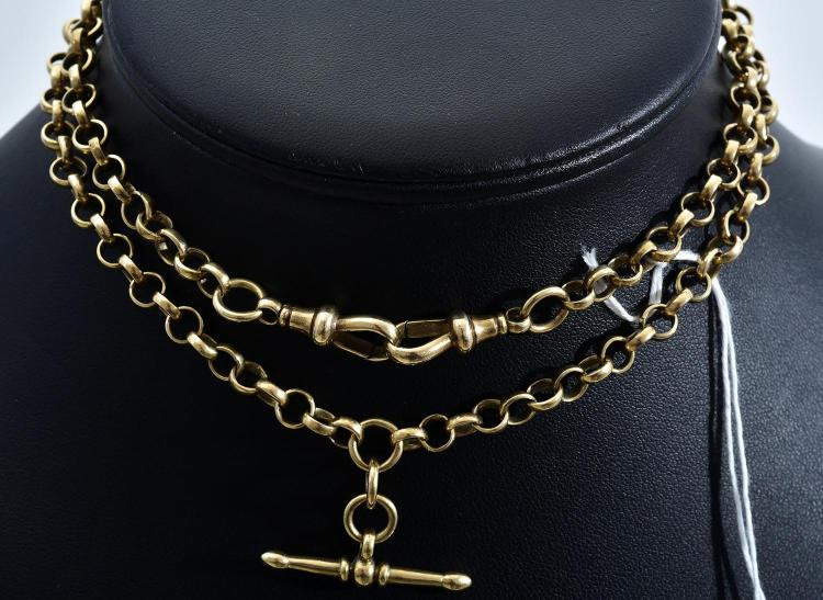 A BELCHER LINK FOB NECKLACE IN 9CT GOLD
