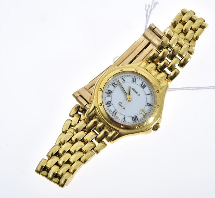 A SWISS WRISTWATCH TO 18CT GOLD CASE AND BANDS