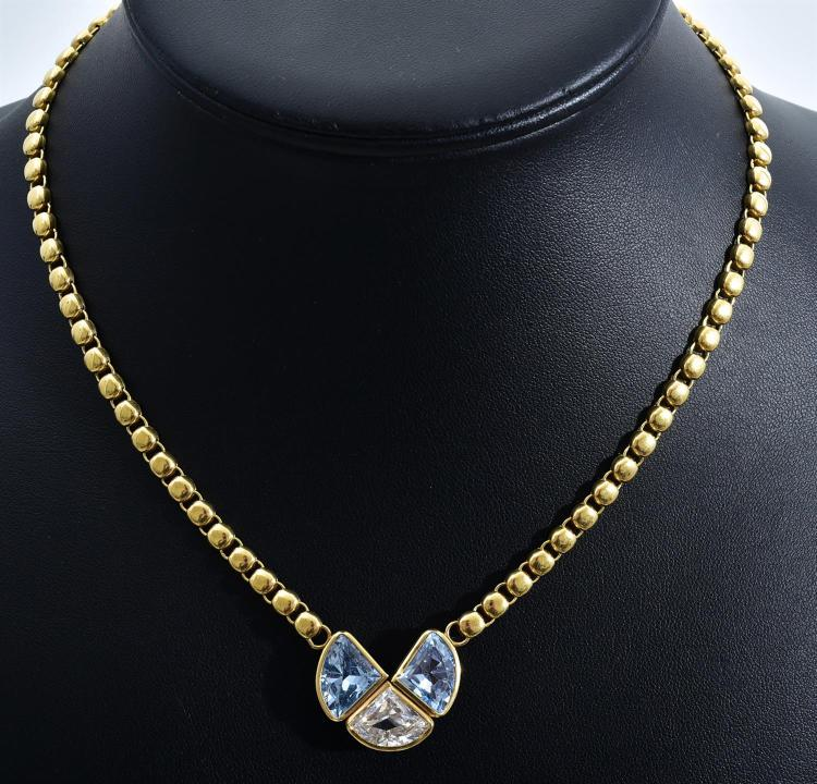 AN ITALIAN 18CT GOLD AND CUBIC ZIRCONIA NECKLACE