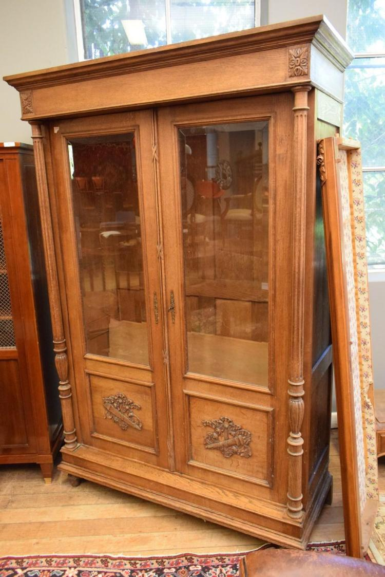 oak storage cabinet a oak glazed display cabinet w shelving 260x160x4 1145