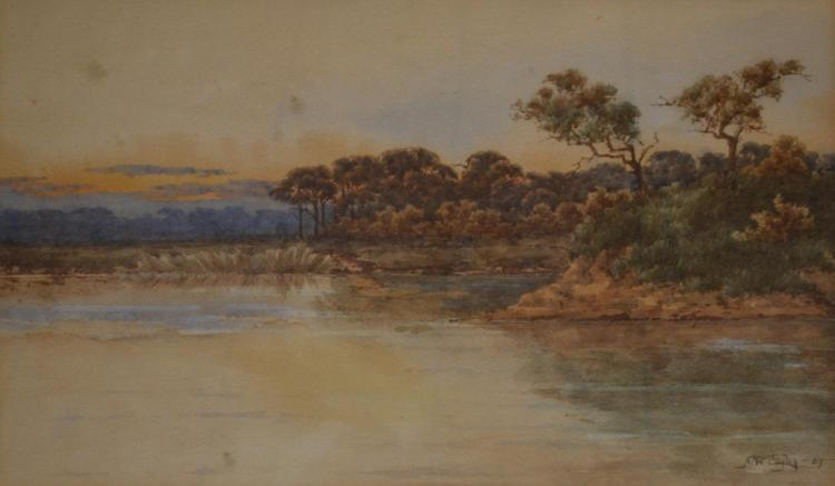 NEVILLE WILLIAM CAYLEY, ORANGE SKY, WATERCOLOUR, 19 X 31 CM
