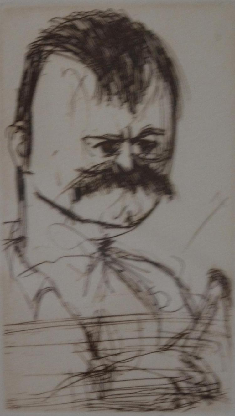 JOHN OLSEN (born 1928)    John Littlewood 1999 etching   19 x 9.5cm