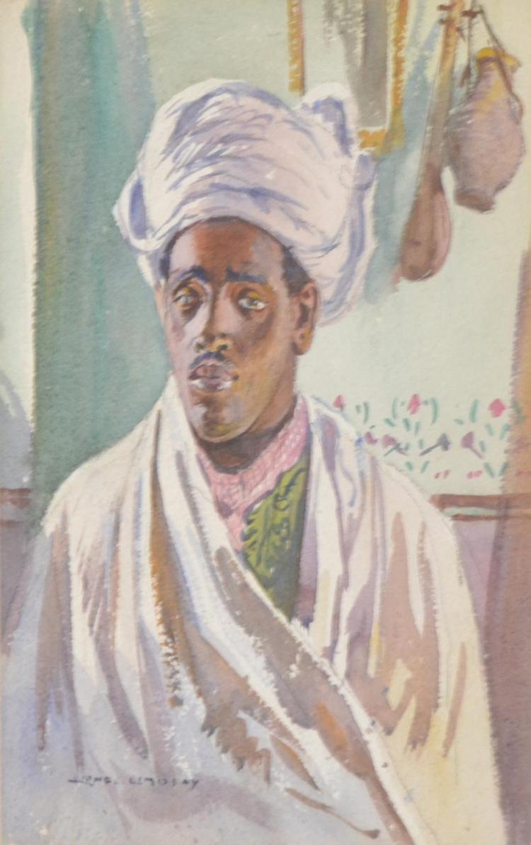 LIONEL LINDSAY (1874-1961) Mohammed Ben Haj Ali A Moor watercolour on paper