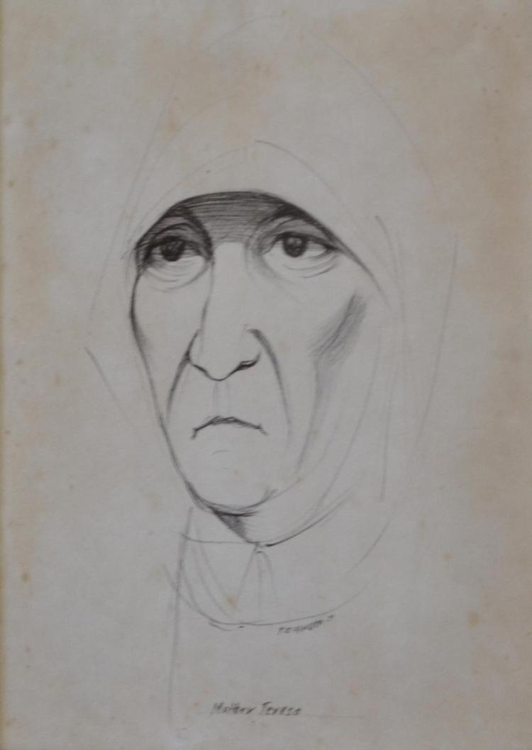 FRANK HINDER, MOTHER TERESA, PEN ON PAPER, 22 X 19CM