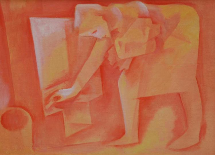 BILL COLEMAN (ATTRIBUTED), WOMAN IN KITCHEN, OIL ON CANVAS BOARD, 44 X 59 CM