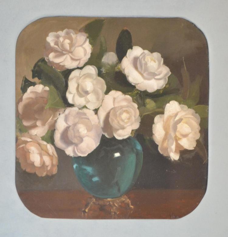 JEAN SUTHERLAND (1902-1978) White Camillias oil on board