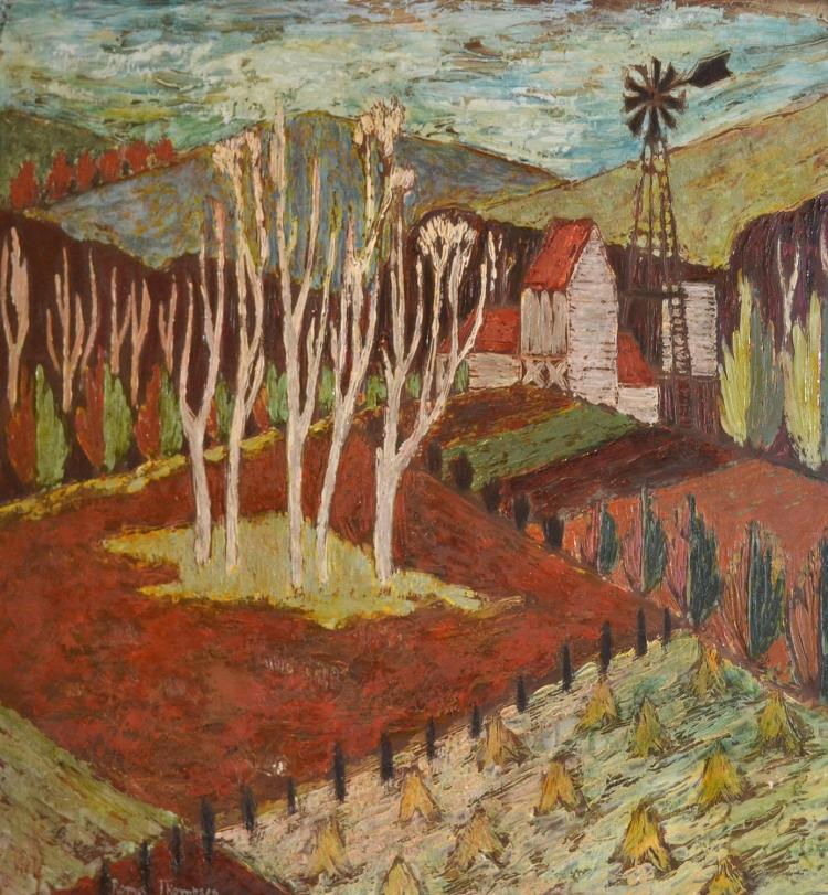 ROMA THOMPSON, WINDWILL, TREES AND FIELDS, OIL ON BOARD, 76 X 92CM