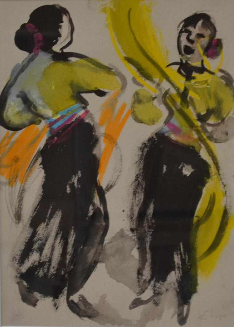 WENDY SHARPE, TWO FIGURES, GOUACHE, 35 X 26.5 CM