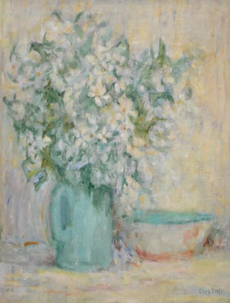 DORA SERLE, MEXICAN ORANGE FLOWER, OIL ON BOARD, 36.5 X 31 CM