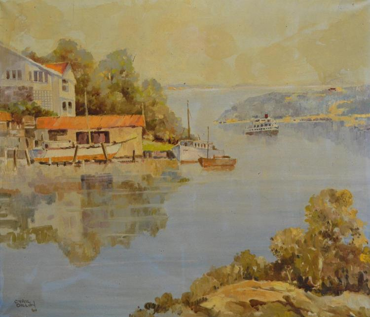 CYRIL DILLION, SYDNEY HARBOUR, OIL ON CANVAS, 54 X 62CM