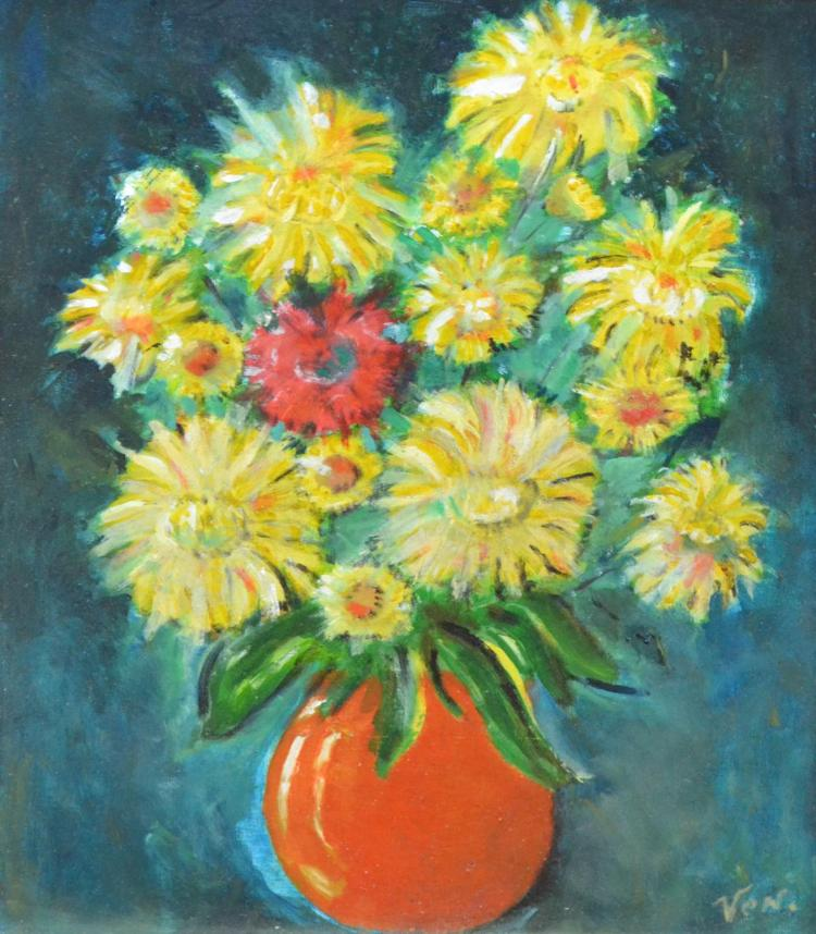 YVONNE COHEN, FLORAL STILL LIFE, OIL ON BOARD, 35 X 27CM