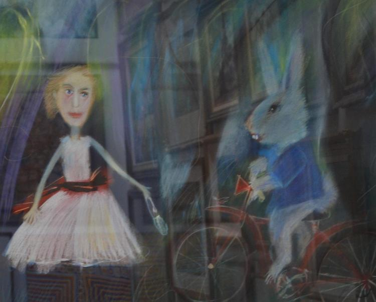 GEOFFREY PROUD (born 1946) Alice and the Rabbit pastel on paper