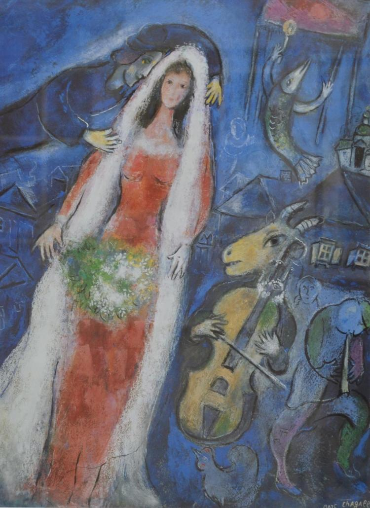 MARC CHAGALL, THE DREAM, REPRODUCTION PRINT, 66 X 50.5CM