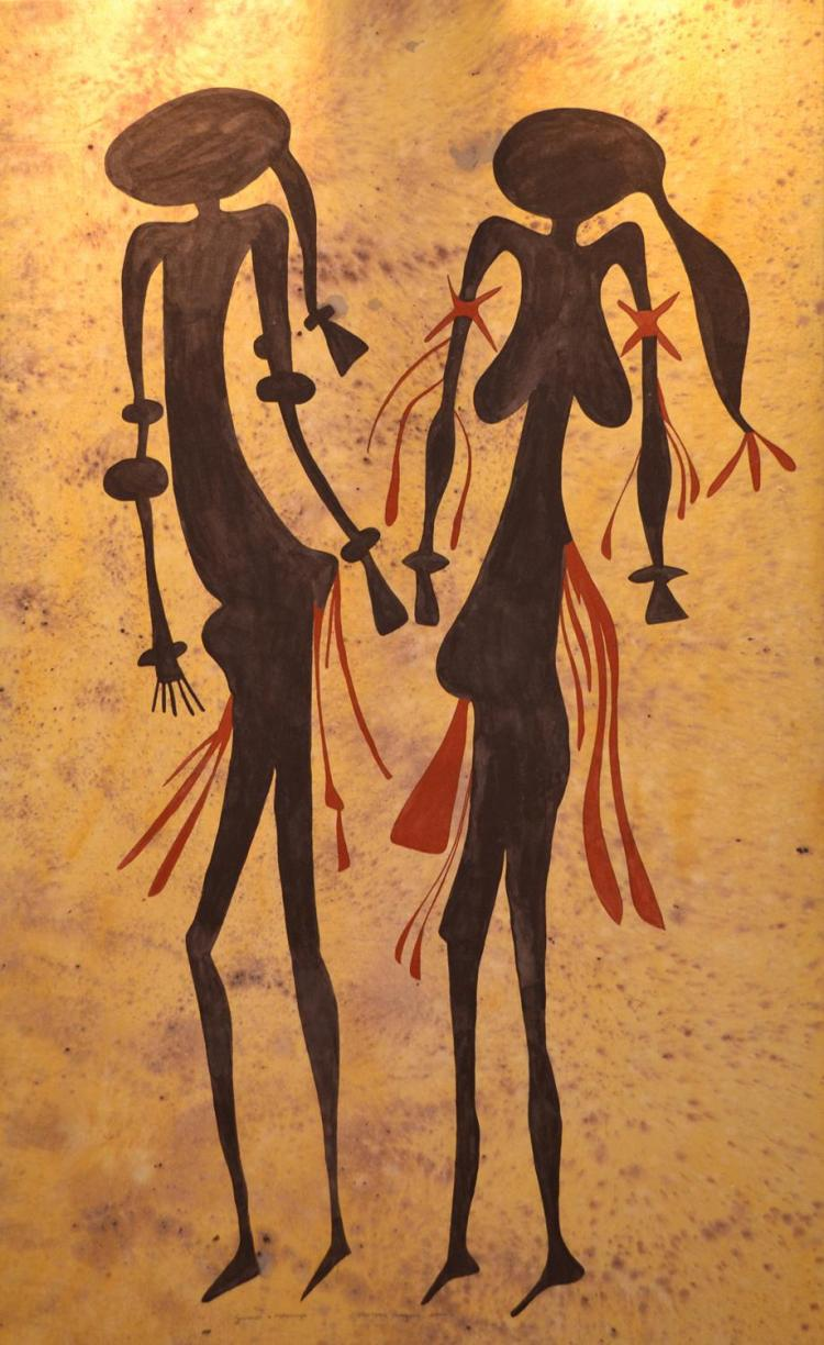 GOORNDI MARDHUNGA, FIGURES, OIL ON CANVAS, SIGNED LOWER RIGHT, 179 X 108CM