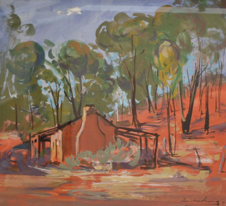 IAN ARMSTRONG, BUSH HUT, GOUACHE ON PAPER, 49 X 56CM, SIGNED TO LOWER RIGHT