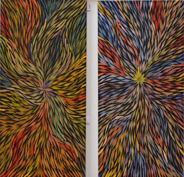 JEANNIE PITJARA, WILD YAM DREAMING (PAIR OF WORKS), ACRYLIC ON CANVAS, 68 X 40 CM (EACH) CERTIFICATE ATTACHED