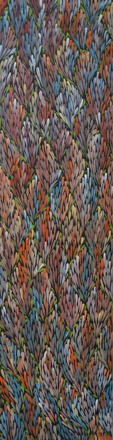 MARGARET TURNER PETYARRE, YAM SEED DREAMING, ACRYLIC ON CANVAS, 147 X 39 CM, CERTIFICATE ATTACHED
