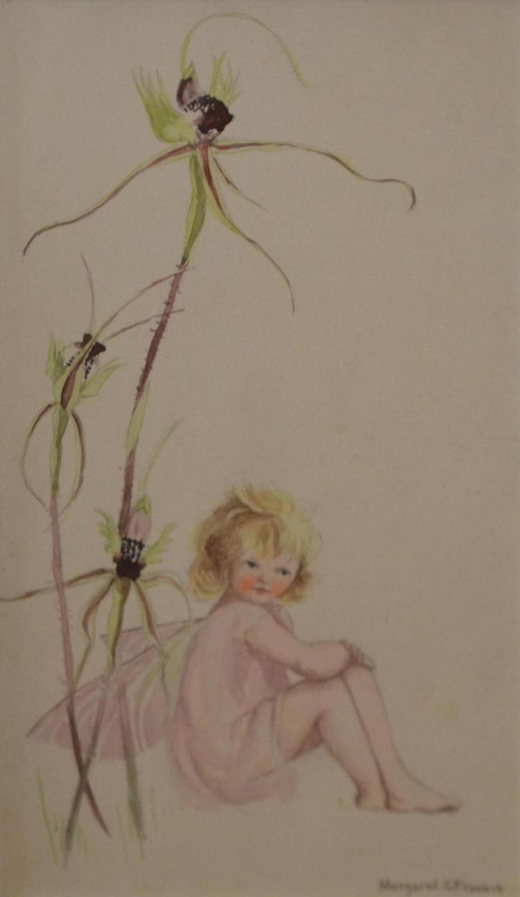 MARGARET FRANCIS, FAIRY GIRL, WATERCOLOUR AND PENCIL, 18.5 X 10.5CM