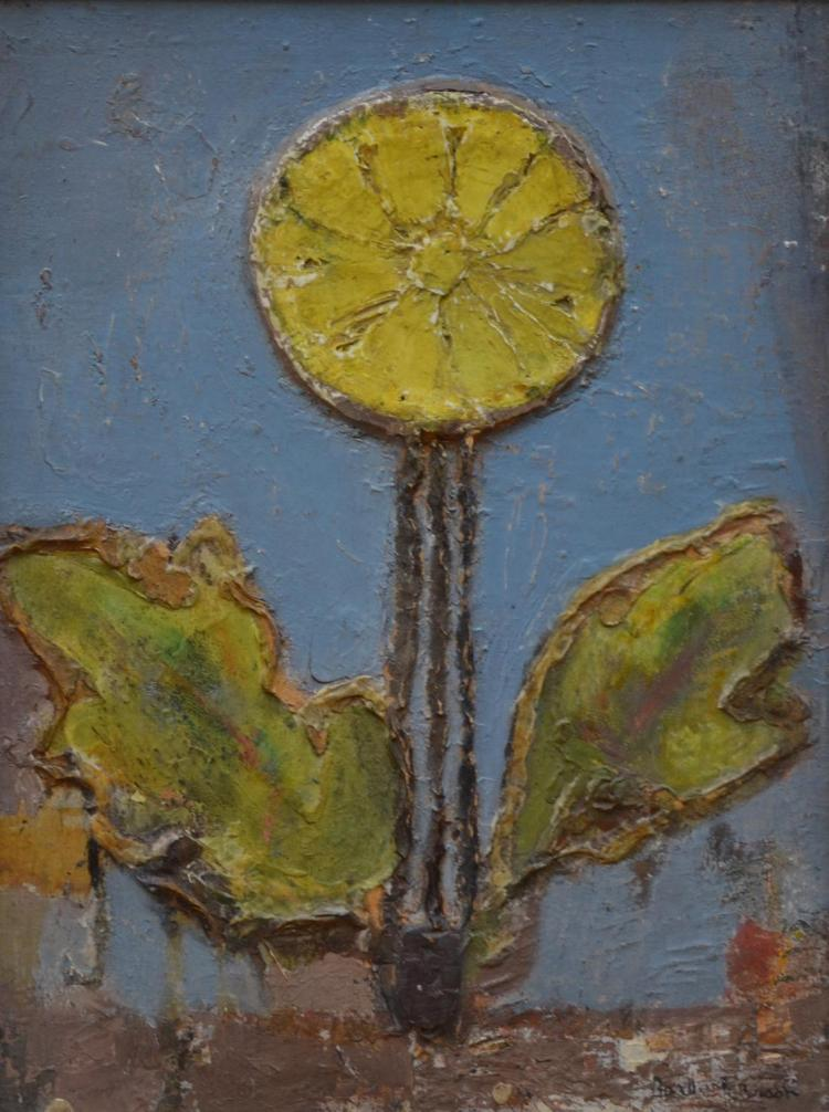 BARBARA BRASH, YELLOW FLOWER, DOUBLE SIDED, OIL ON BOARD, 40 X 30CM